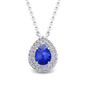 Pendant necklace with chain 2.30 ct  ceylon sapphi